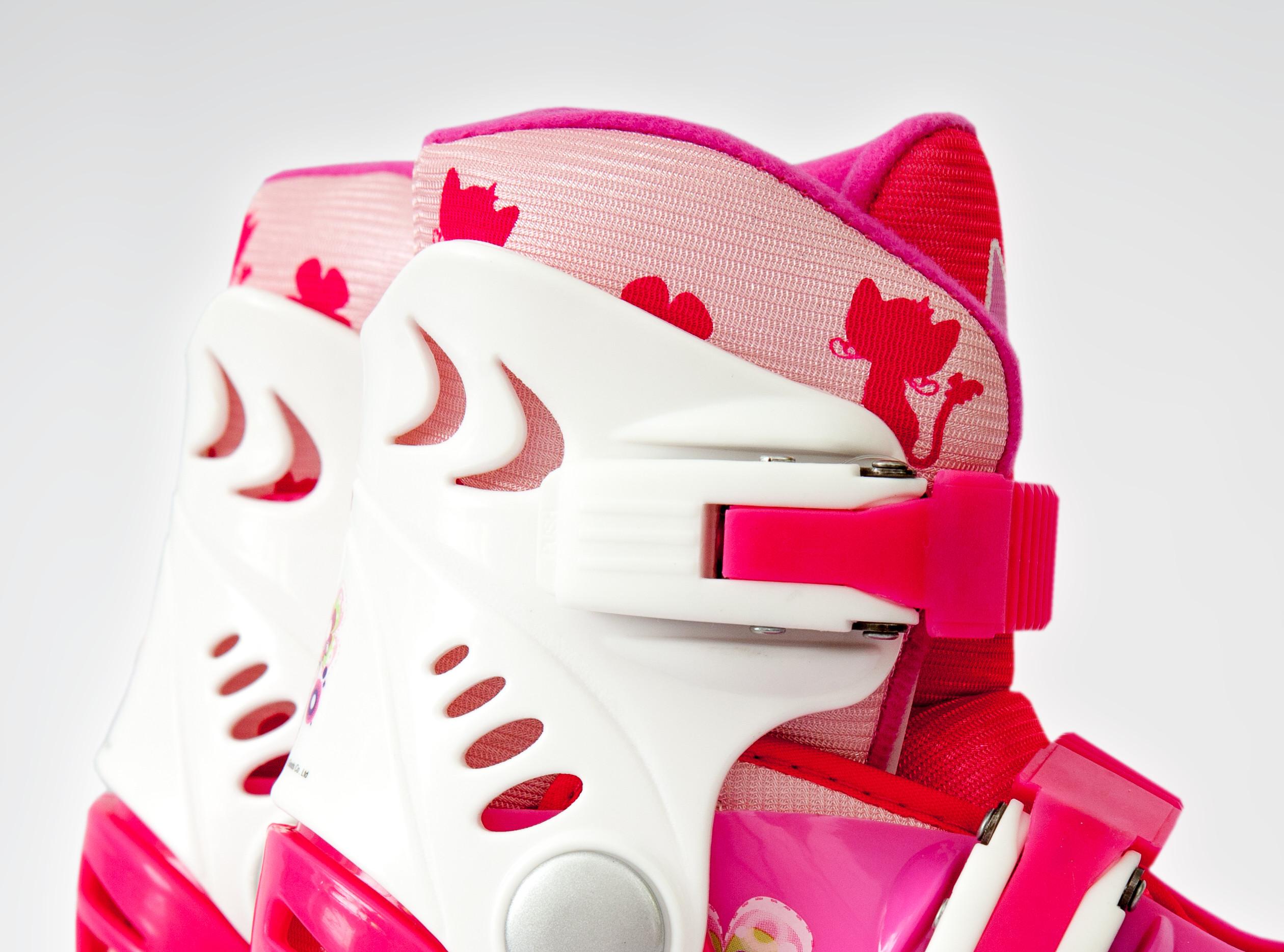 Ролики детские 26 размер, для обучения (трансформеры, раздвижной ботинок) MagicWheels розовые, - фото 3