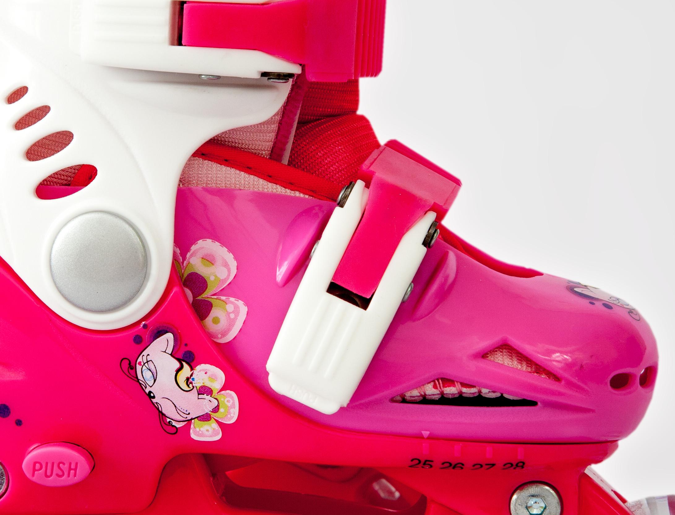 Ролики детские 26 размер, для обучения (трансформеры, раздвижной ботинок) MagicWheels розовые, - фото 2