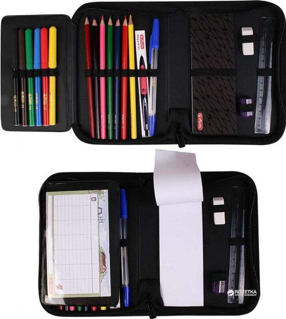 Пенал Херлиц WILD PRINT с наполнением 19 предметов цвет Черный, - фото 2
